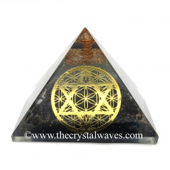 Glow In Dark GID Black Tourmaline Chips Orgone Pyramid With Flower Of Life Star Of David