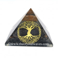 Glow In Dark GID Black Tourmaline Chips Orgone Pyramid With Big Tree Of Life