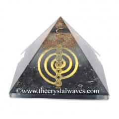 Glow In Dark GID Black Tourmaline Chips Orgone Pyramid With Chakra Cho Ku Rei