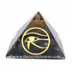 Glow In Dark GID Black Tourmaline Chips Orgone Pyramid With Horus Eye Symbol