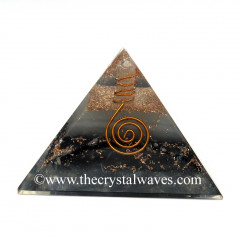 Glow In Dark GID Black Tourmaline Chips Orgone Pyramid With Copper Wrrapped Crystal Point