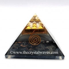 Glow In Dark GID Black Tourmaline Chips Orgone Pyramid With 9 Pyramid Plate