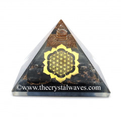 Glow In Dark GID Black Tourmaline Chips Orgone Pyramid With Lotus Flower Of Life
