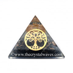 Glow In Dark GID Black Tourmaline Chips Orgone Pyramid With Big New Tree  Of Life