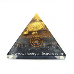 Glow In Dark GID Black Tourmaline Chips Orgone Pyramid With Fengshui / Vastu Tortoise