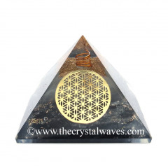 Glow In Dark GID Black Tourmaline Chips Orgone Pyramid With Big Flower Of Life
