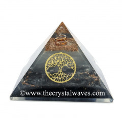 Glow In Dark GID Black Tourmaline Chips Orgone Pyramid With Tree Of Life