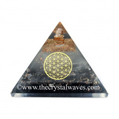 Glow In Dark GID Black Tourmaline Chips Orgone Pyramid With Flower Of Life
