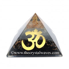 Glow In Dark GID Black Tourmaline Chips Orgone Pyramid With Big Om Symbol