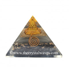 Glow In Dark GID Black Tourmaline Chips Orgone Pyramid With Shreeyantra