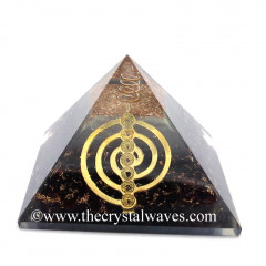 Glow In Dark GID Garnet Chips Orgone Pyramid With Chakra Cho Ku Rei