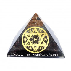 Glow In Dark GID Garnet Chips Orgone Pyramid With Flower Of Life Star Of David