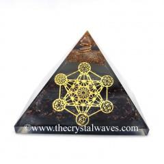 Glow In Dark GID Garnet Chips Orgone Pyramid 7 Chakra Metatron's Cube Symbol