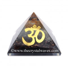 Glow In Dark GID Garnet Chips Orgone Pyramid With Big Om Symbol