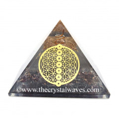 Glow In Dark GID Garnet Chips Orgone Pyramid With Chakra Flower Of Life