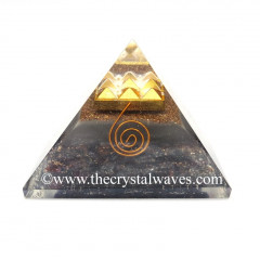 Glow In Dark GID Garnet Chips Orgone Pyramid With 9 Pyramid Plate