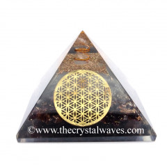 Glow In Dark GID Garnet Chips Orgone Pyramid With Big Flower Of Life