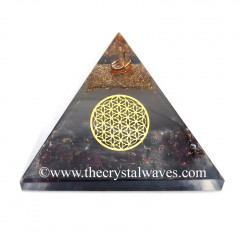 Glow In Dark GID Garnet Chips Orgone Pyramid With Flower Of Life