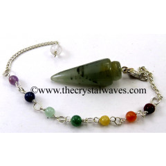 Green Aventurine Smooth Pendulum With Chakra Chain