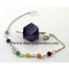 Amethyst Hexagonal Pendulum With Chakra Chain