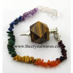 Yellow Tiger Eye Agate Hexagonal Pendulum With Chakra Chips Chain