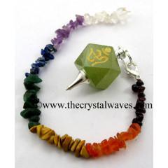 Green Aventurine Om Engraved Hexagonal Pendulum With Chakra Chips Chain