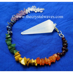 Selenite Faceted Pendulum With Chakra Chips Chain