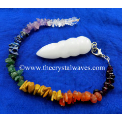 Snow Quartz Egyptian Style Pendulum With Chakra Chips Chain