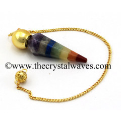 7 Chakra Bonded Faceted Gold Modular Pendulum