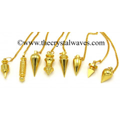 Mix Assorted Shape Metal Dowsing Pendulum Golden