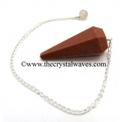 Red Gold Stone Manmade Faceted Pendulum