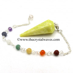 Serpentine Faceted Pendulum With Chakra Chain