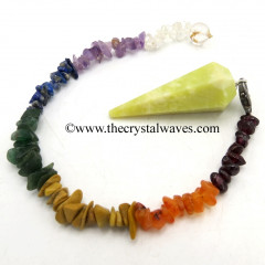 Serpentine Faceted Pendulum With Chakra Chips Chain