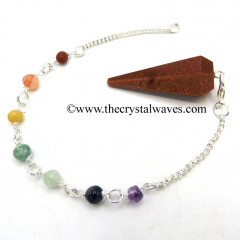 Red Goldstone Faceted Pendulum With Chakra Chain