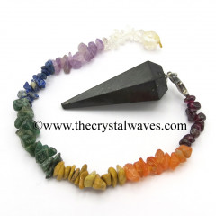 Shungite Faceted Pendulum With Chakra Chips Chain