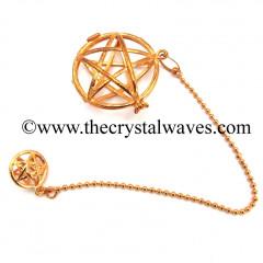 Star / Pentagram Round Cab Cage Copper Pendulum