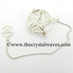 Star / Pentagram Round Cab Cage Silver Pendulum