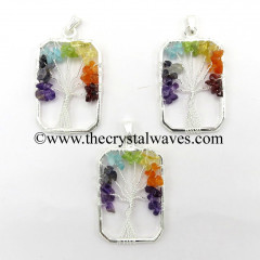 Chakra Chips Rectangle Shape Tree Of Life Pendants