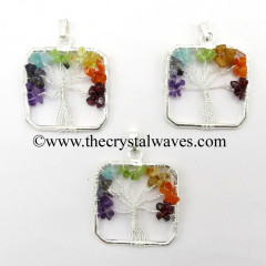 Chakra Chips Square Shape Tree Of Life Pendants