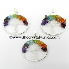 Chakra Chips Oval Shape Tree Of Life Pendants