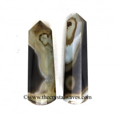 "Black Banded Onyx Chalcedony 3""+ Pencil 6 to 8 Facets"