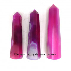 "Pink Fuschia Banded Onyx Chalcedony 3""+ Pencil 6 to 8 Facets"