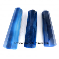 "Blue Banded Onyx Chalcedony 3""+ Pencil 6 to 8 Facets"