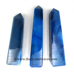 Blue Banded Onyx Chalcedony 3 Inch + Tower