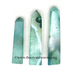 Aqua Banded Onyx Chalcedony 3 Inch + Tower