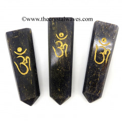 Blue Aventurine Aum Engraved Flat Pencil