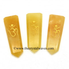 Yellow Aventurine Aum Engraved Flat Pencil