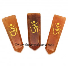 Red Aventurine Aum Engraved Flat Pencil