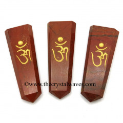 Red Jasper Aum Engraved Flat Pencil