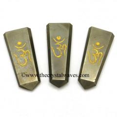 Pyrite Aum Engraved Flat Pencil